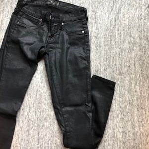 Low rise faux leather jeans